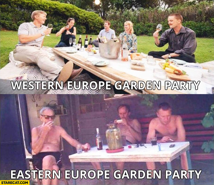 Garden party in Western Europe vs Eastern Europe