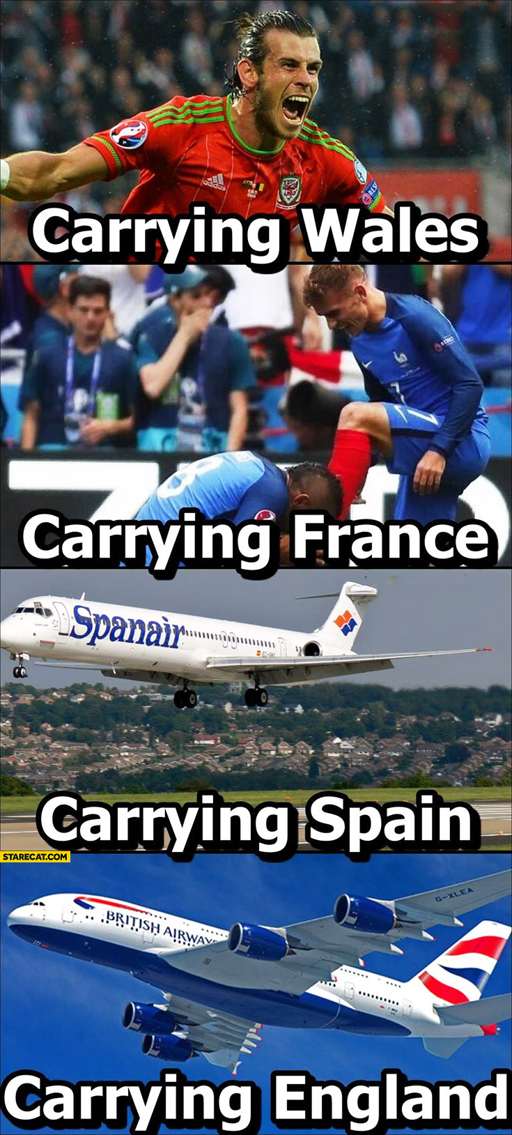 Gareth Bale carrying Wales, Griezmann carrying France, airplane carrying Spain and England Euro 2016 fail