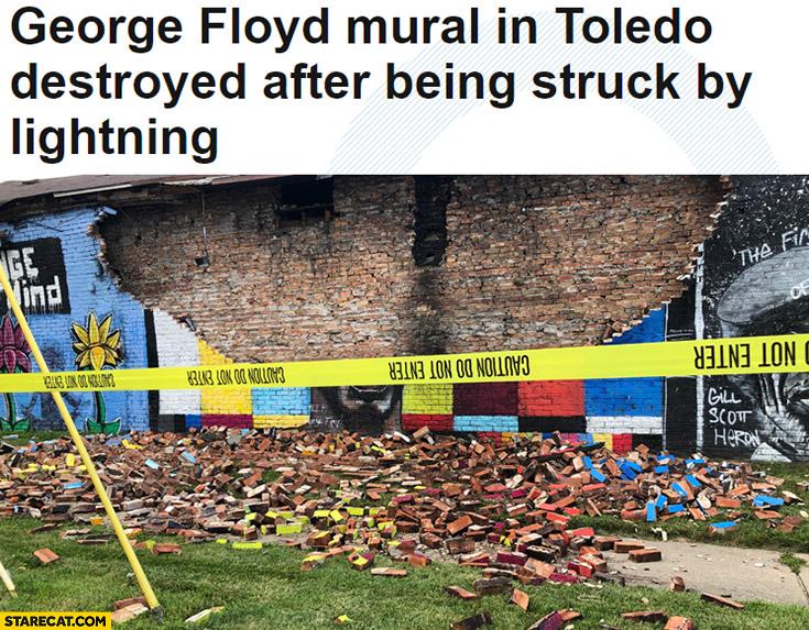George Floyd mural in Toledo destroyed after being struck by lightning