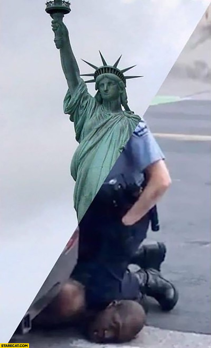 George Floyd policeman statue of liberty photoshopped