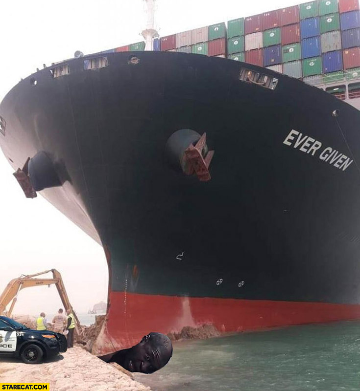 George Floyd under Ever Given Evergreen container ship photoshopped