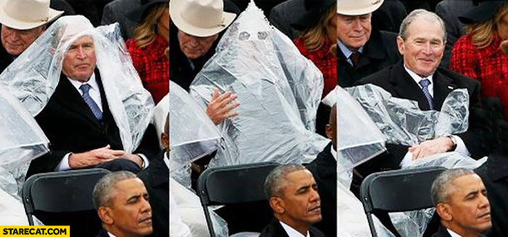 George W Bush raincoat looking like Ku Klux Klan
