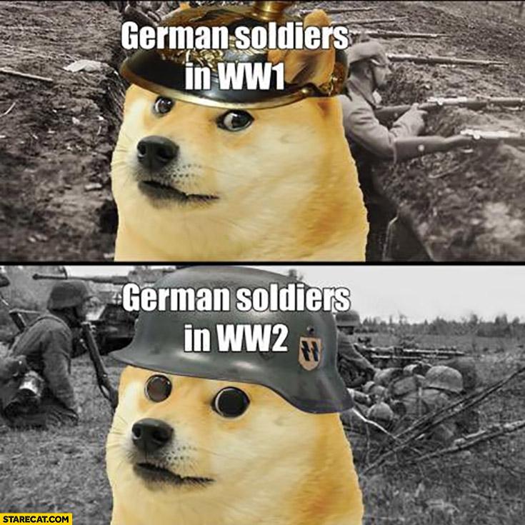 German soldiers in WW1 vs in WW2 dog doge comparison eyes