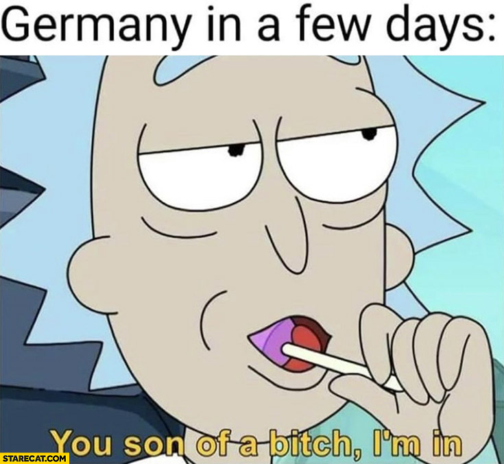 Germany in a few days: you son of a bitch I'm in World War 3 Rick and Morty