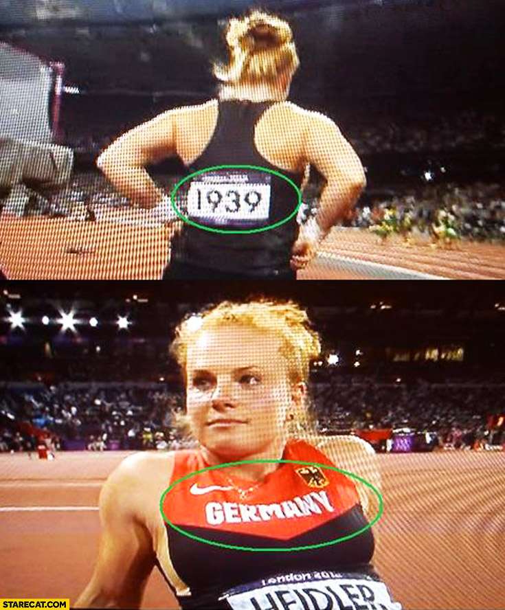 Germany sports athletics woman 1939 starting number fail