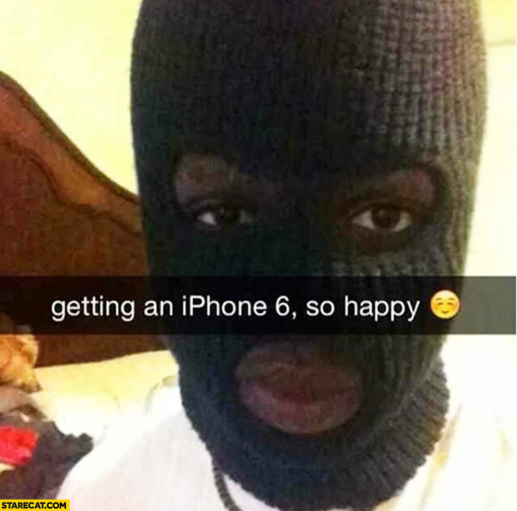 Getting an iPhone 6 so happy black man wearing balaclava
