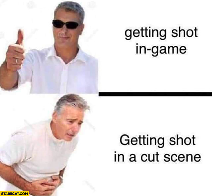 Getting shot in game vs getting shot in a cut scene