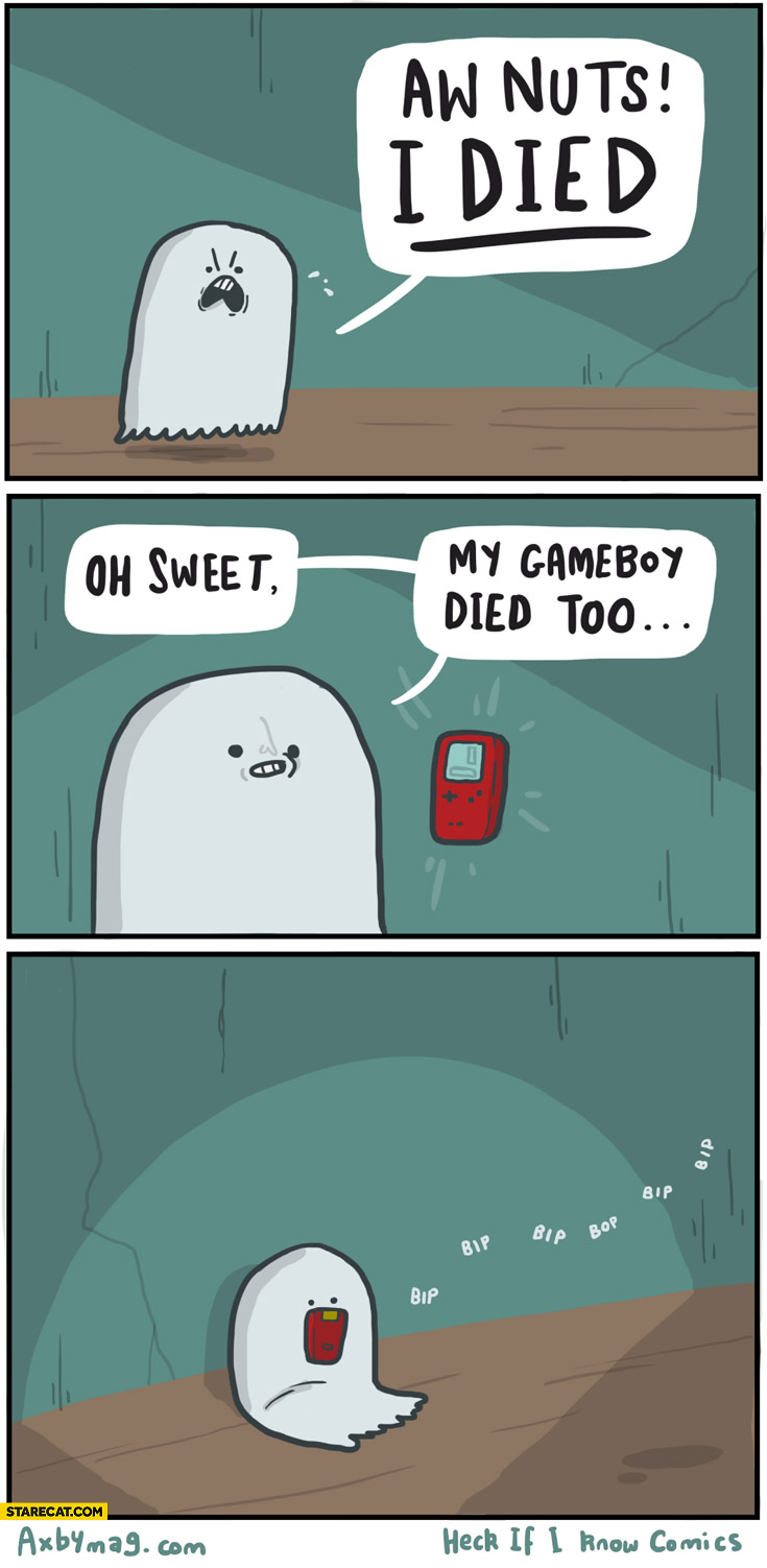 Ghost aw nuts I died, oh sweet my GameBoy died too