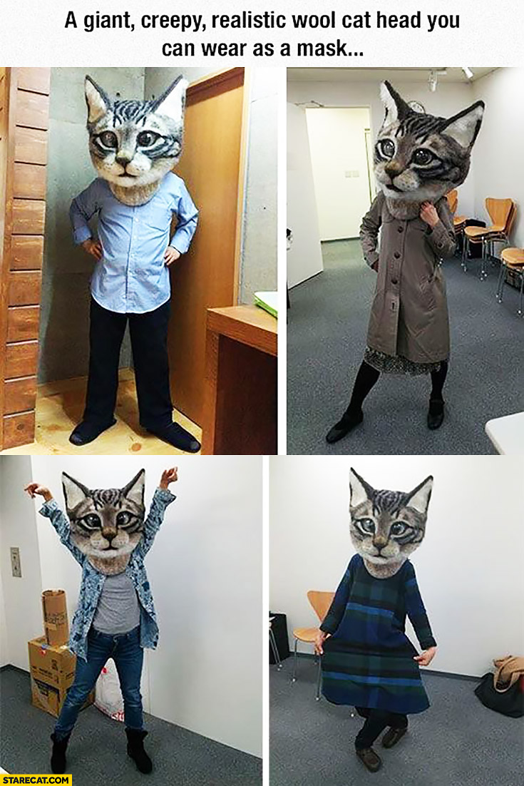 Giant creepy realistic wool cat head you can wear as a mask