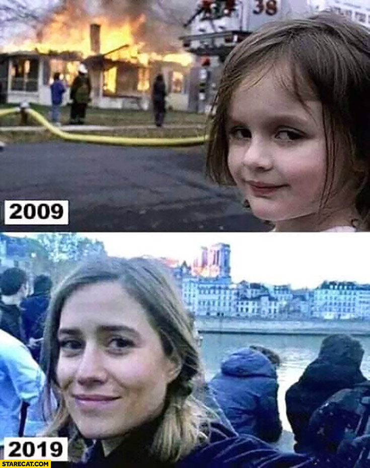Girl fire in background same girl Notre Dame fire 2009 2019