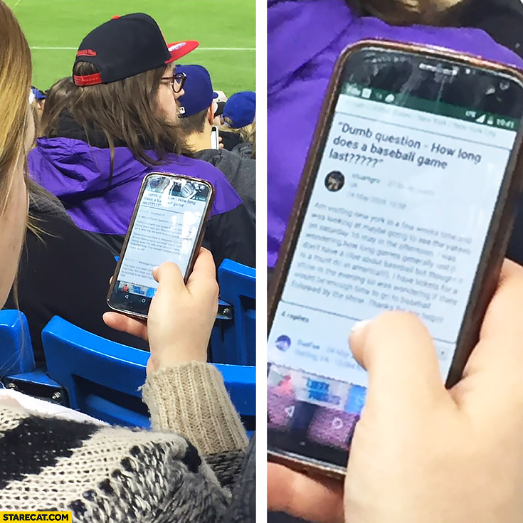 Girl googling how long does a baseball game lasts on a stadium