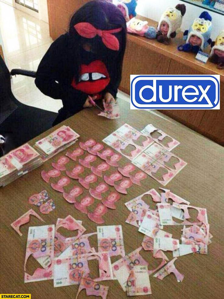Girl kid cutting money prevention saves money durex
