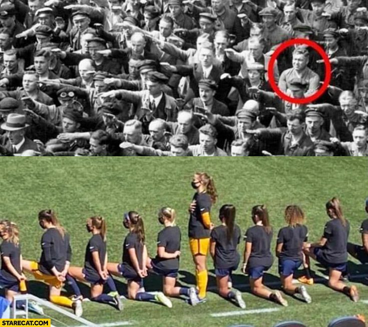 Girl refuses to kneel for BLM black lives matter just like a guy refuses to hail to nazi hitler