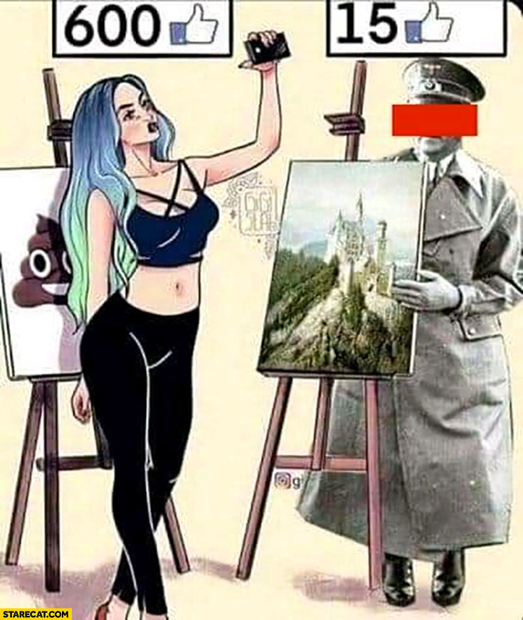 Girl shitty painting 600 likes, hitler good painting only 15 likes