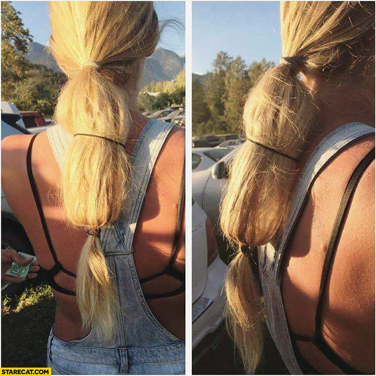 Girl smuggling vodka in long hair ponytail