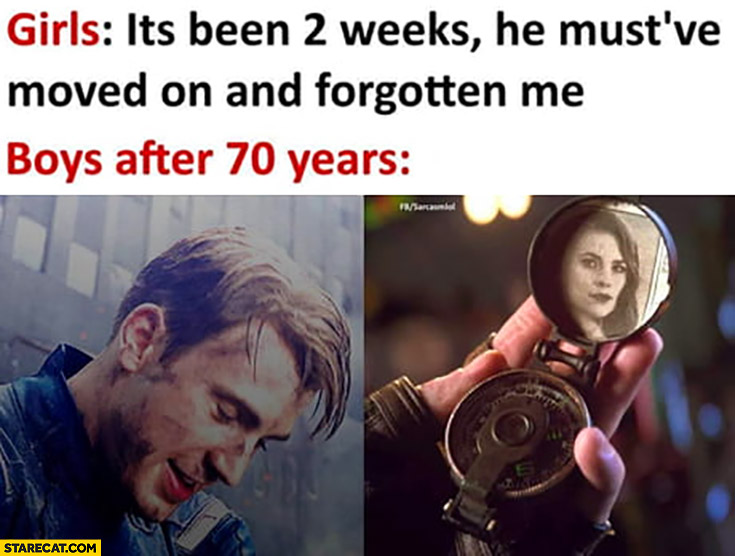 Girls: it's been 2 weeks he must have moved and forgotten me vs boys after 70 years still thinking about her