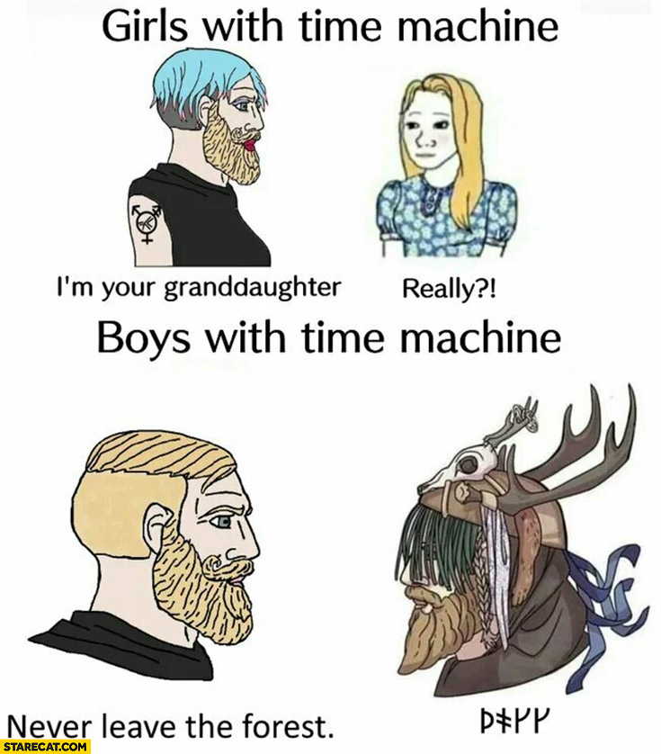 Girls vs boys with time machine never leave the forest
