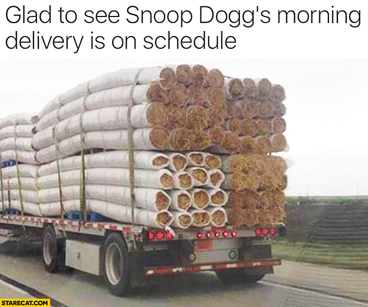 Glad to see Snoop Dogg's morning delivery on schedule giant blunts joints on a truck