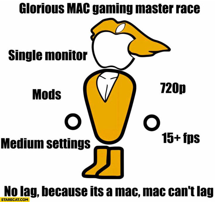 Glorious Mac gaming master race: single monitor, mods, medium settings, no lag because it's a Mac it can't lag