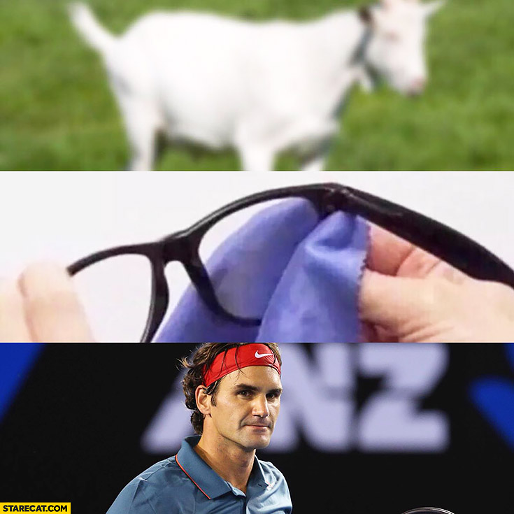 Goat Federer seen through glasses greatest of all time