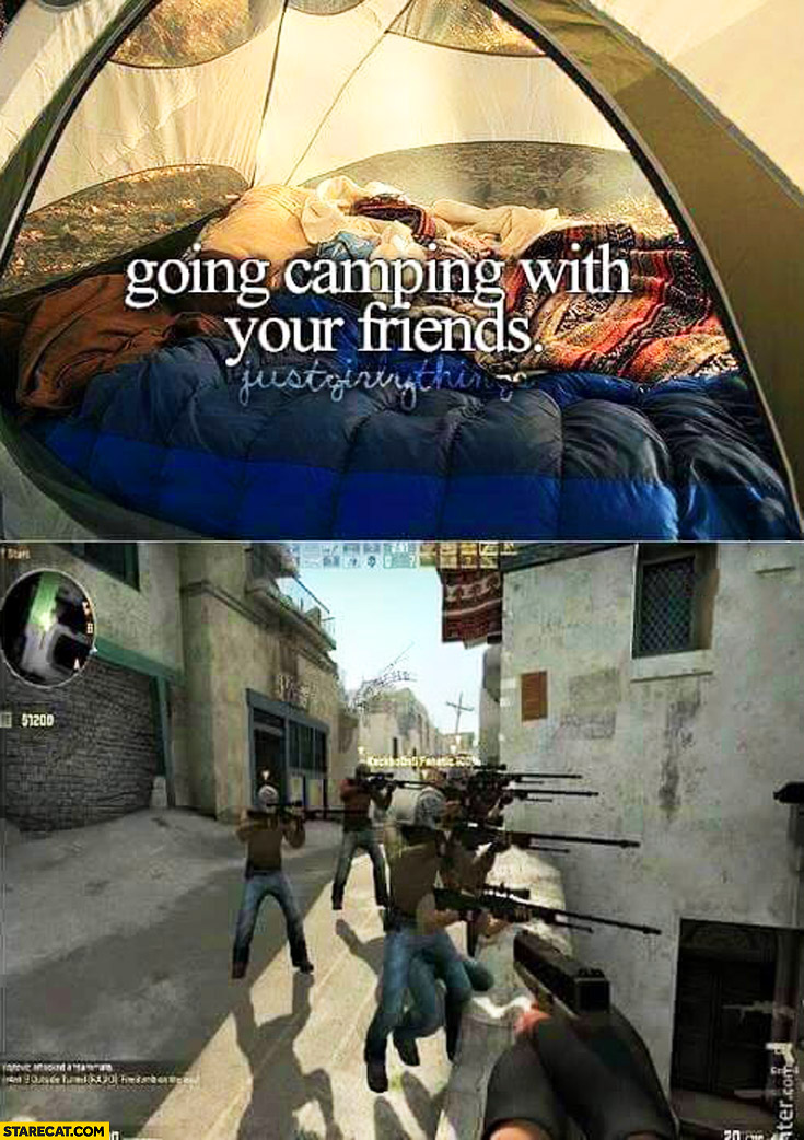 Going camping with friends justgirlythings vs FPP shooter game