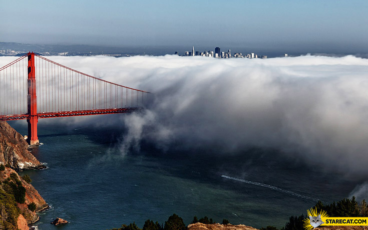 Golden Gate Bridge in clouds