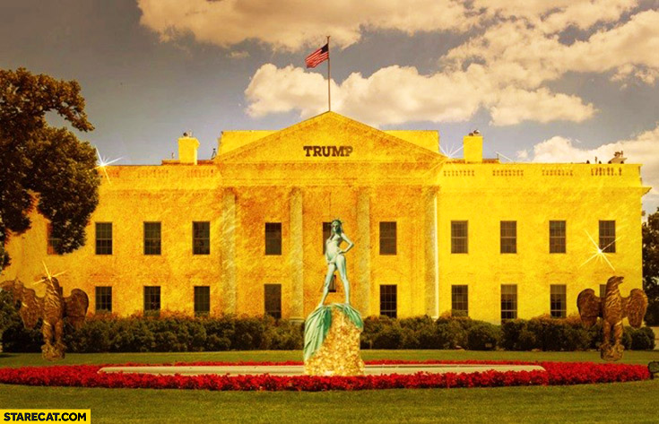 Golden White House with Trump sign on it soon