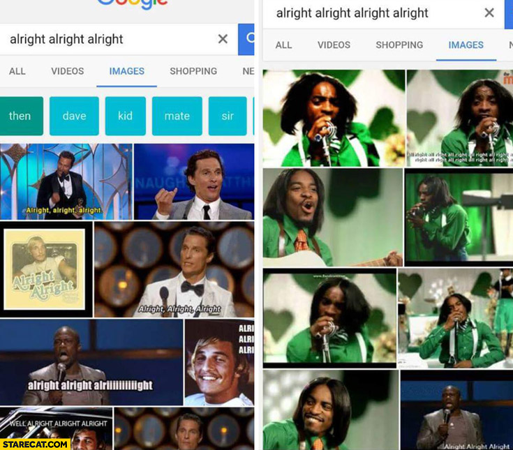 Google alright alright alright different image search results