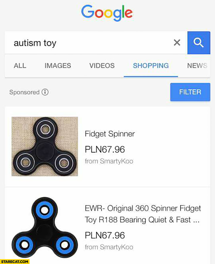 Google autism toy fidget spinner