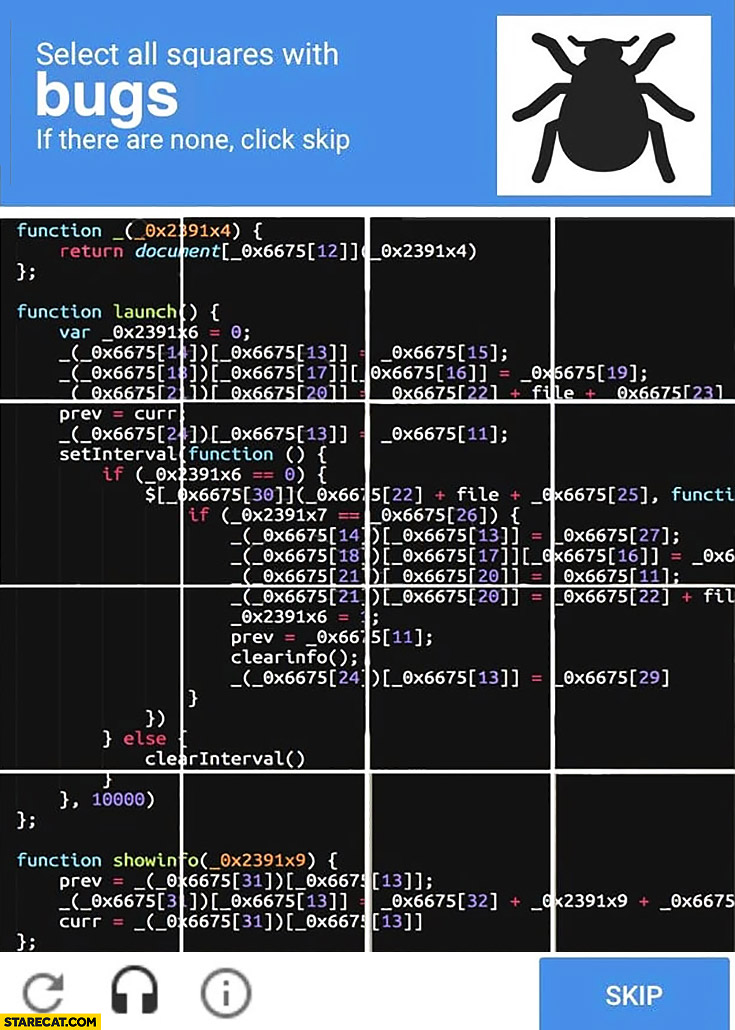 Google Captcha: select all squares with bugs in the code, if there are none click skip programming