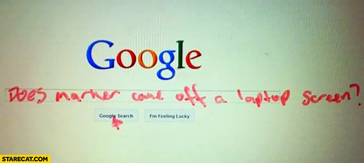 Google: does marker come off a laptop screen?
