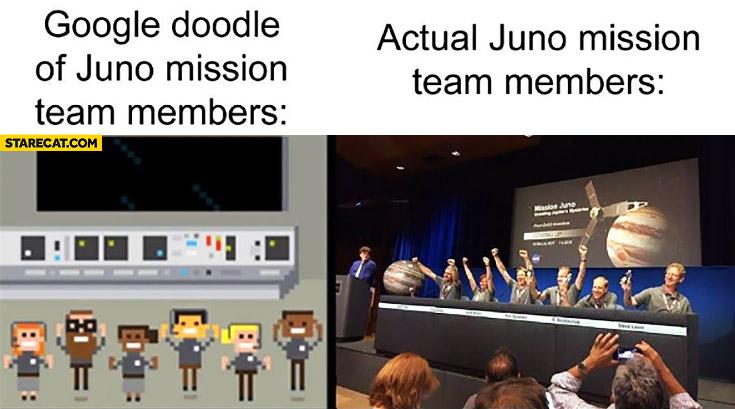 Google doodle of juno mission team members vs. actual juno mission team members only white people fail