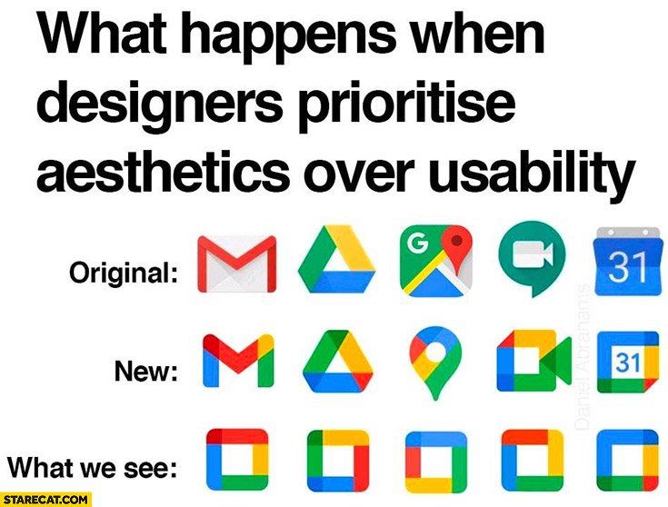 Google icons logos what happens when designers prioritise aesthetics over usability