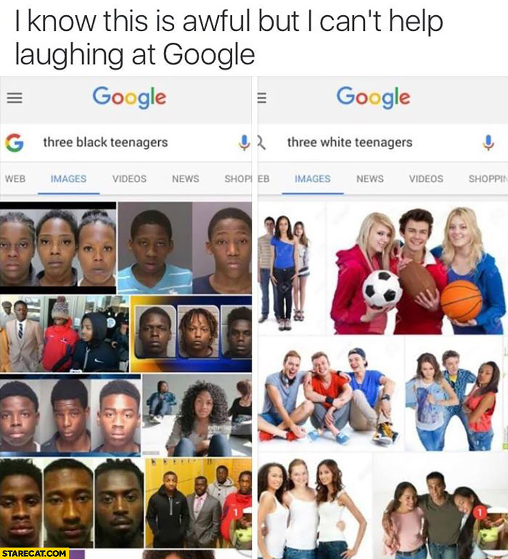 Google results comparison: three black teenagers vs three white teenagers