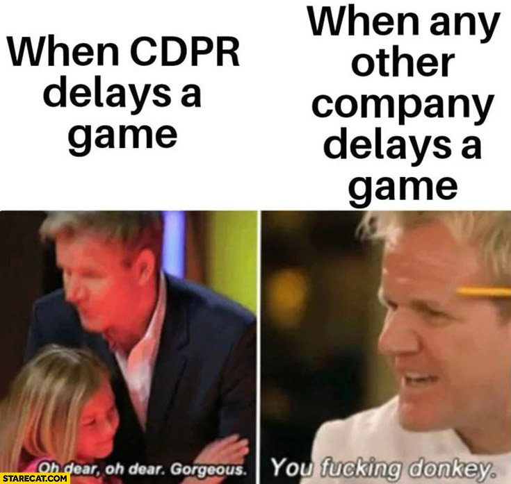 Gordon Ramsay when CDPR CD Projekt delays a game vs when any other company delays a game