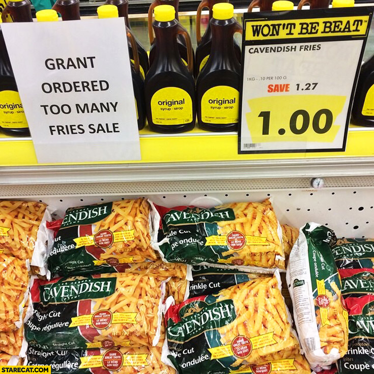 Grant ordered too many fries Sale