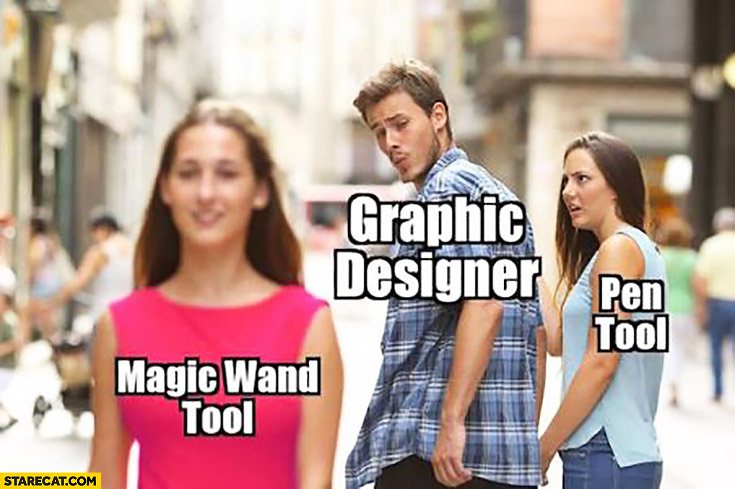 Graphic designer looking at magic wand tool, pen tool girlfriend jealous