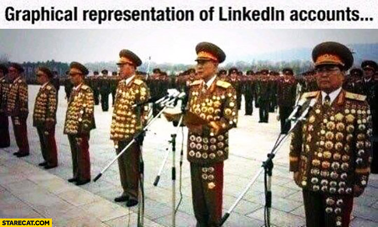 Graphical representation of LinkedIn accounts soldiers with medals