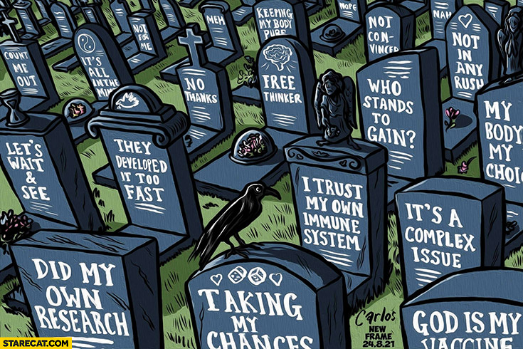 Graveyard covid coronavirus antivax anti-vaxx patients that did not vaccinate their quotes drawing