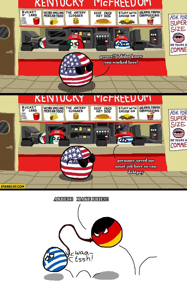 Greece working at KFC arbeit make fries greeceball germanball polandball meme