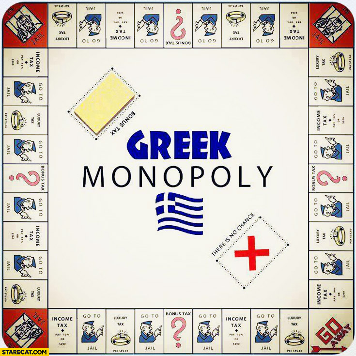 Greek Monopoly go to jail income tax bonus tax luxury tax go away
