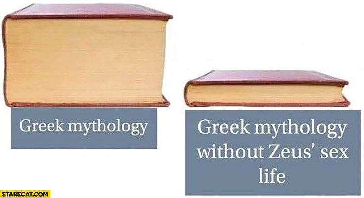 Greek mythology vs Greek mythology without Zeus' sex life