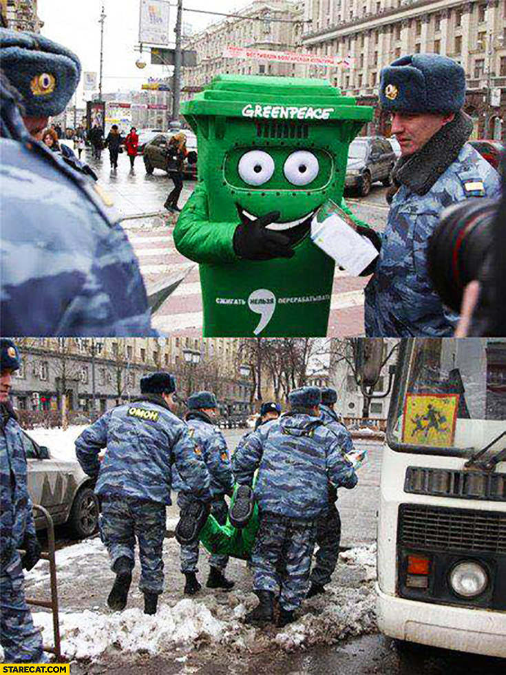 Greenpeace bin trash can in Russia carried out arrested