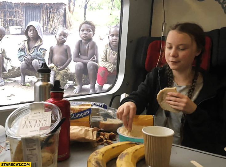 Greta Thunberg eating out of plastic containers starving kids from Africa watching