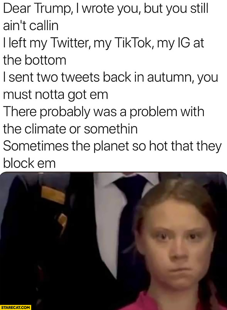 Greta Thunberg Eminem lyrics dear Trump I wrote you but you still ain't callin