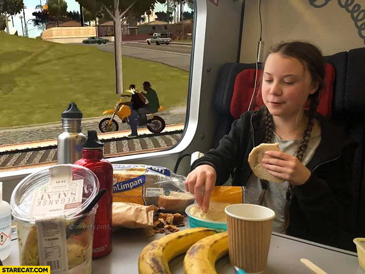 Greta Thunberg in a train GTA Grand Theft Auto outside photoshopped