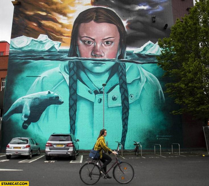 Greta Thunberg mural steet art painting