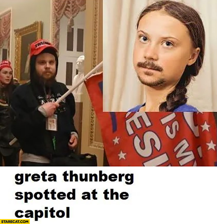 Greta Thunberg spotted at the capitol with moustache
