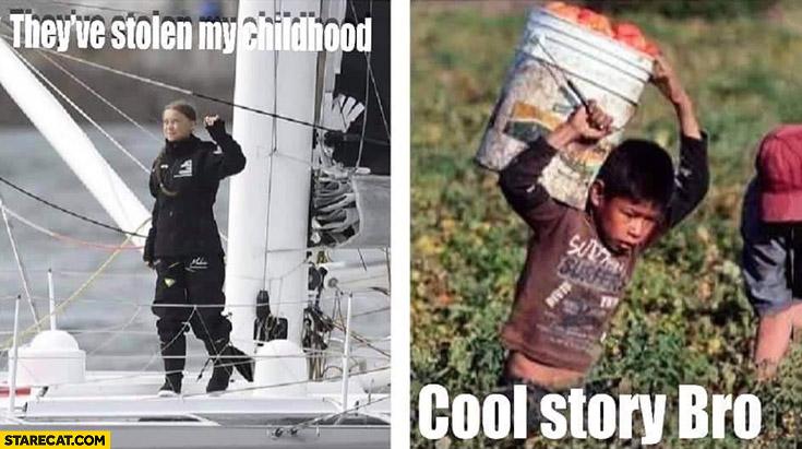 Greta Thunberg they've stolen my childhood hardworking kid cool story bro