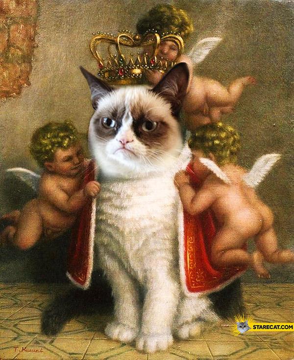 Grumpy cat as a king